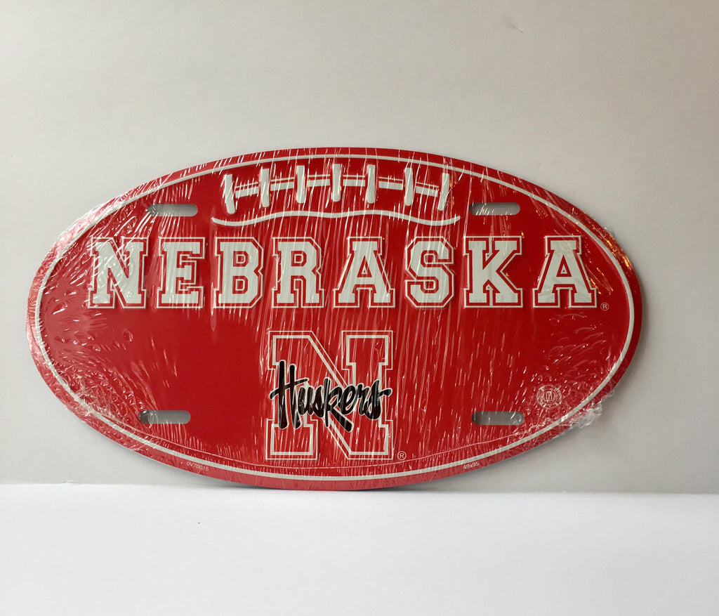 Nebraska Cornhuskers Car Truck Tag Oval Football License Plate Metal Sign
