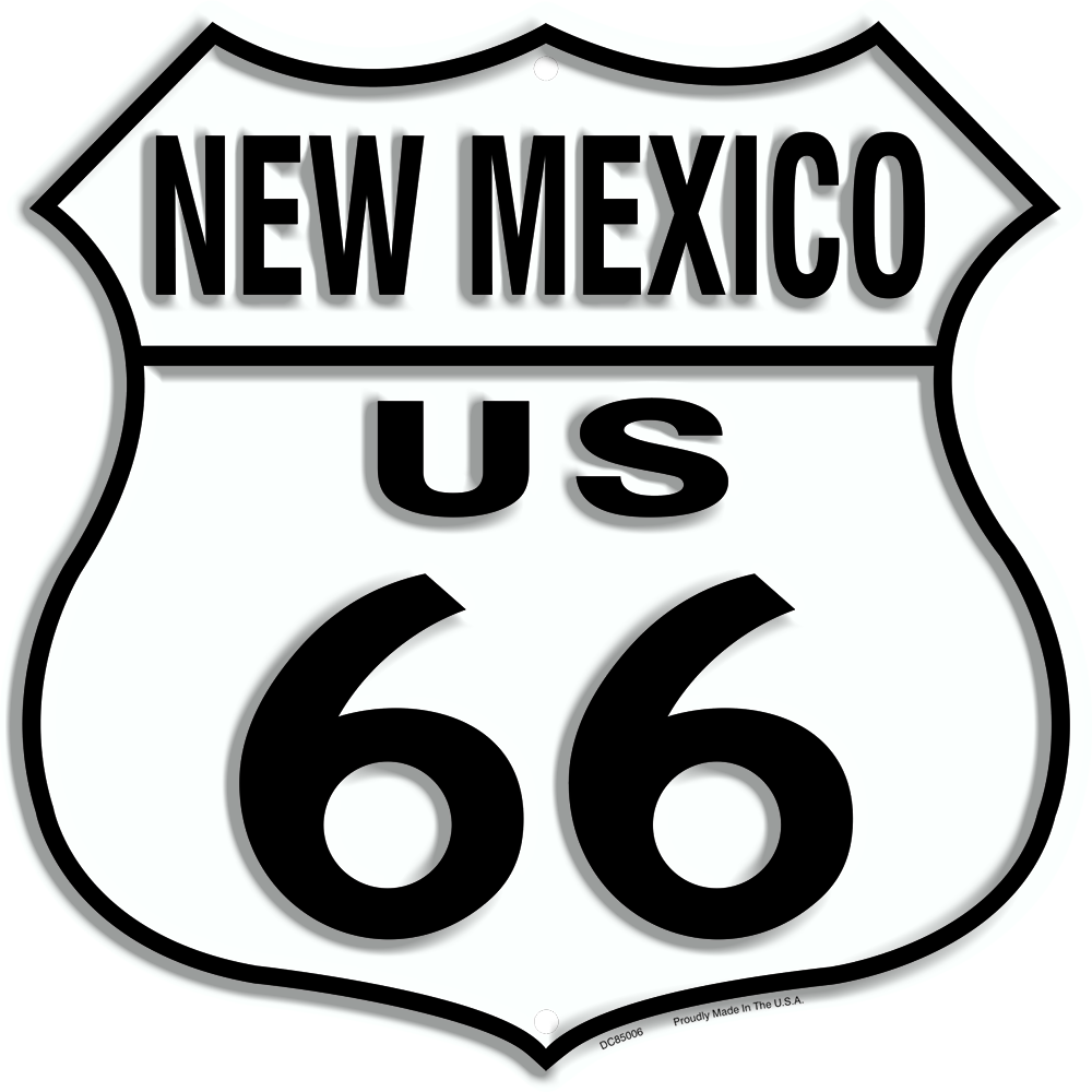"US ROUTE 66 NEW MEXICO 12 X 12"" SHIELD METAL TIN EMBOSSED HISTORIC HIGHWAY SIGN"