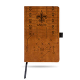NEW ORLEANS SAINTS LASER ENGRAVED BROWN NOTEPAD WITH ELASTIC BAND JOURNAL LOGO
