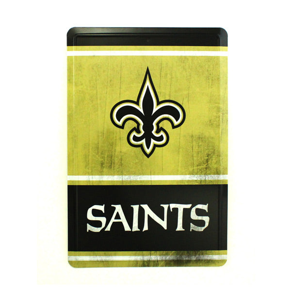 "NEW ORLEANS SAINTS TEAM TIN SIGN VINTAGE WOOD LOOK METAL 8""  X 12"" MAN CAVE FAN"