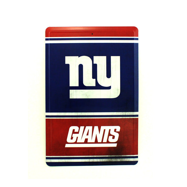 "NEW YORK GIANTS TEAM TIN SIGN VINTAGE WOOD LOOK METAL 8""  X 12"" MAN CAVE FAN"
