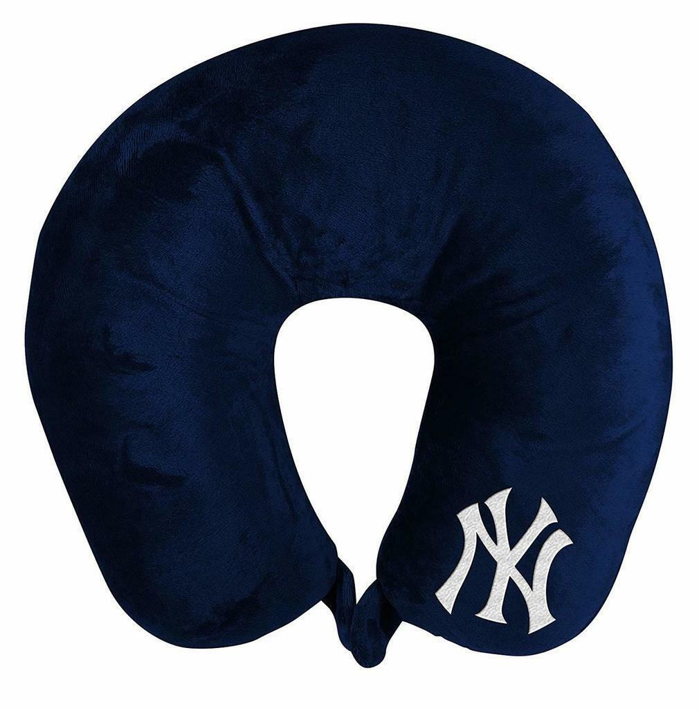 NEW YORK YANKEES APPLIQUE TRAVEL NECK PILLOW TEAM LOGO COLOR SNAP CLOSURE POLYESTER MLB