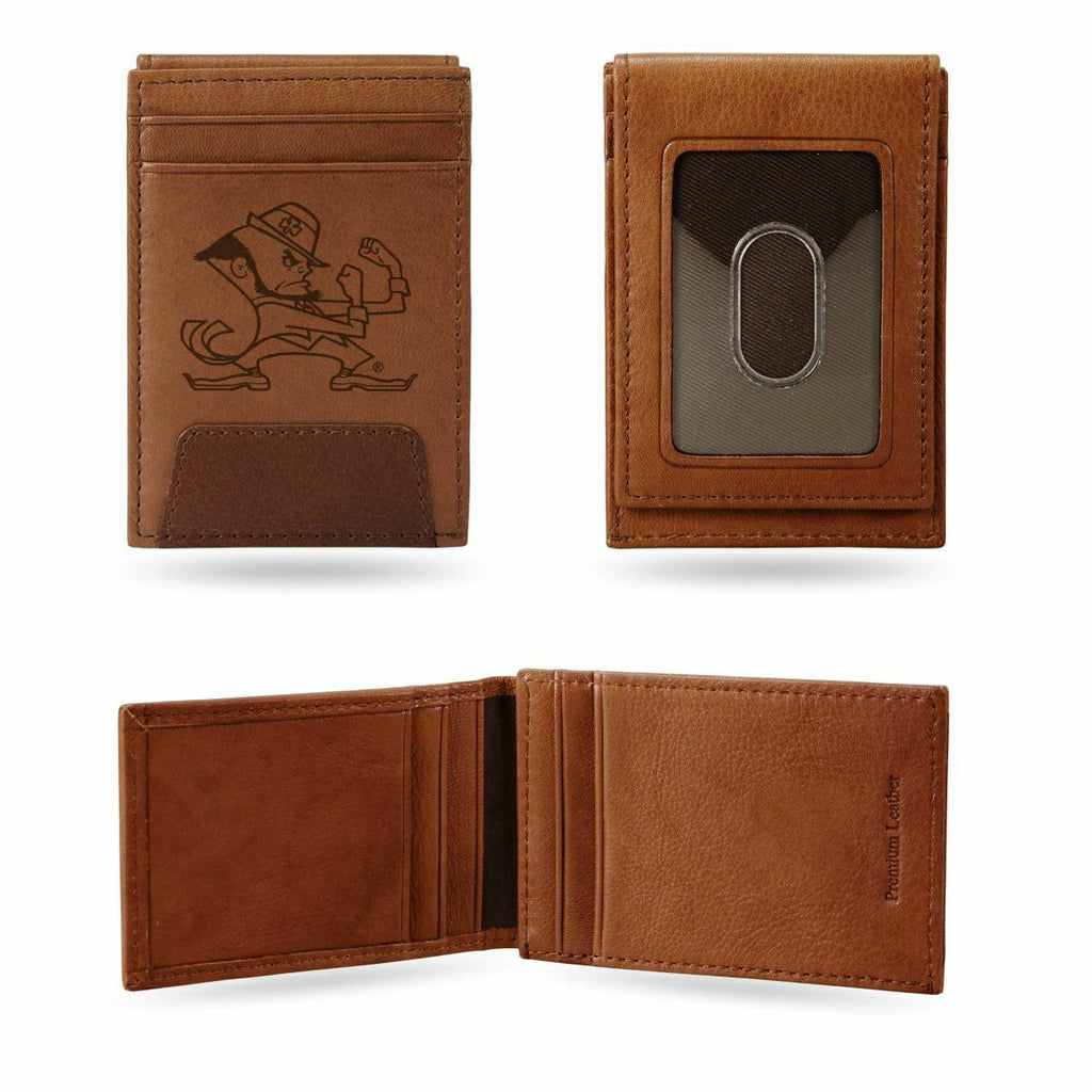 NOTRE DAME FIGHTING IRISH LASER ENGRAVED BROWN FRONT POCKET WALLET UNIVERSITY MONEY HOLDER