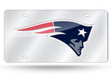 NEW ENGLAND PATRIOTS MIRROR CAR TAG LASER LICENSE PLATE NFL SILVER SIGN