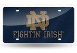 NOTRE DAME FIGHTING IRISH MIRRORED NAVY BLUE CAR TAG LICENSE PLATE TAN LOGO SIGN