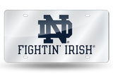 NOTRE DAME FIGHTING IRISH MIRROR SILVER CAR TAG LASER LICENSE PLATE UNIVERSITY