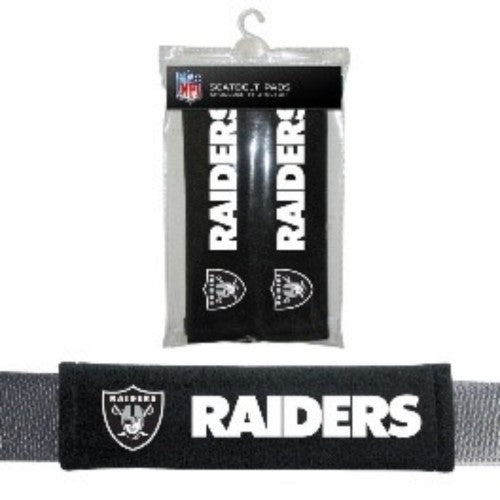 OAKLAND RAIDERS SEATBELT LAPTOP GYM BAG PADS NFL SHOULDER PROTECTOR 2PK NEW