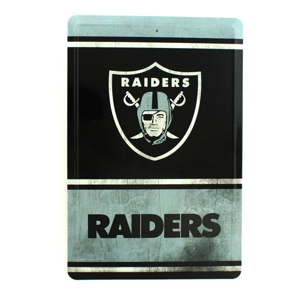"OAKLAND RAIDERS TEAM TIN SIGN VINTAGE WOOD LOOK METAL 8""  X 12"" MAN CAVE FAN"