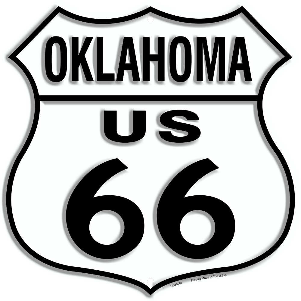 "US ROUTE 66 OKLAHOMA 12 X 12"" SHIELD METAL TIN EMBOSSED HISTORIC HIGHWAY SIGN"