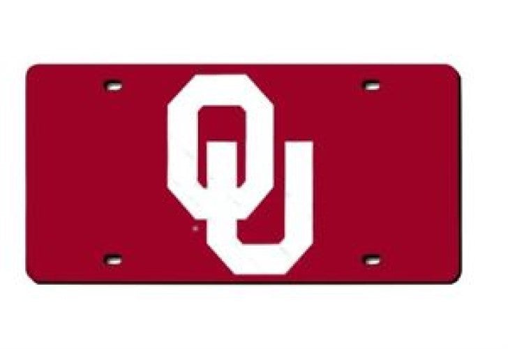 OKLAHOMA SOONERS MIRROR LICENSE PLATE RED