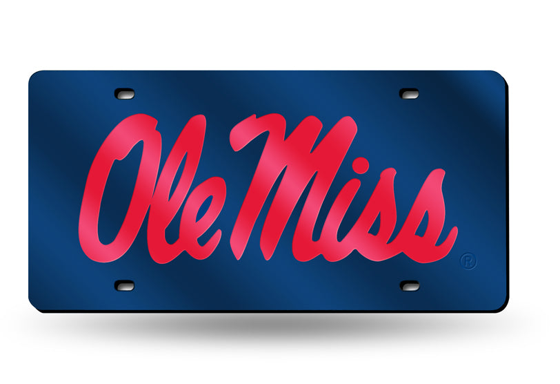 OLE MISS REBELS MIRROR BLUE CAR TAG LICENSE PLATE RED SCRIPT