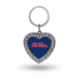 OLE MISS REBELS RHINESTONE HEART BLING KEYCHAIN UNIVERSITY OF MISSISSIPPI NCAA KEY RING