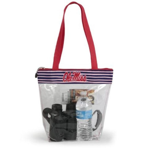 OLE MISS REBELS CLEAR ZIPPER STADIUM TOTE APPROVED PURSE BAG NCAA INSIDE POCKET