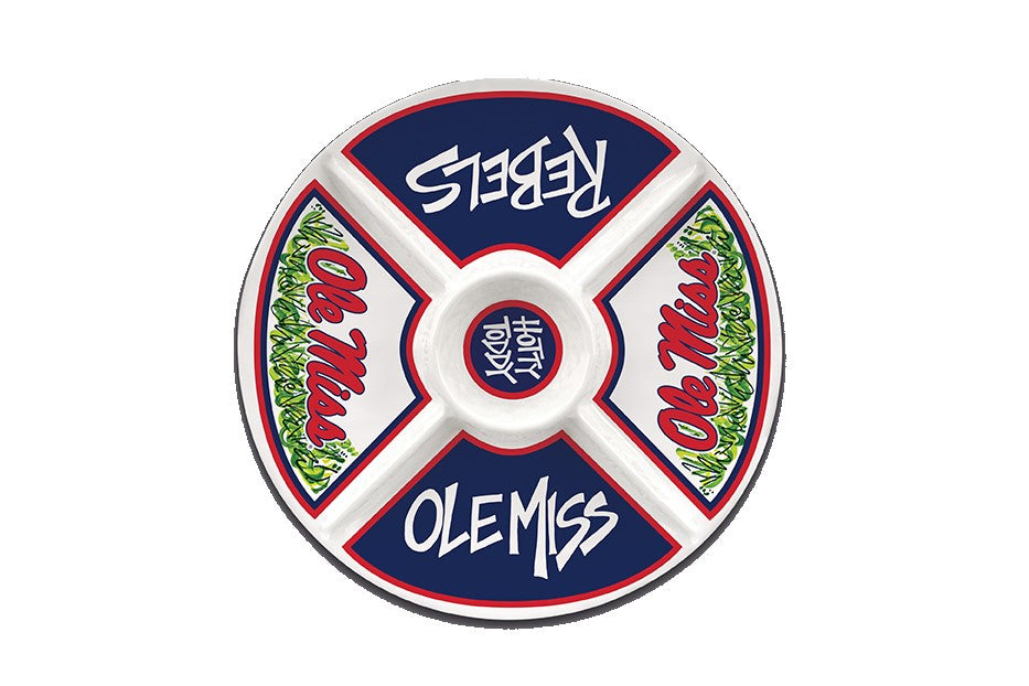 OLE MISS REBELS MELAMINE VEGGIE DIP DIVIDED TRAY PLATTER PARTIES TAILGATING THE GROVE