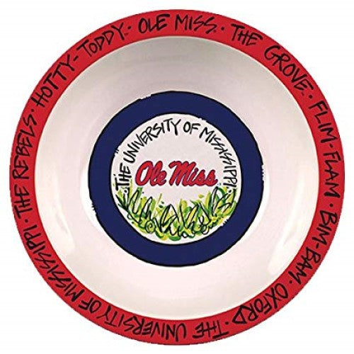 "Ole Miss Rebels Melamine Bowl 12"" Hotty Toddy The Grove Tailgating Magnolia Lane"