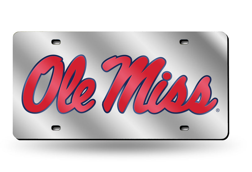 OLE MISS REBELS MIRROR CAR TAG LICENSE PLATE  RED BLUE LOGO