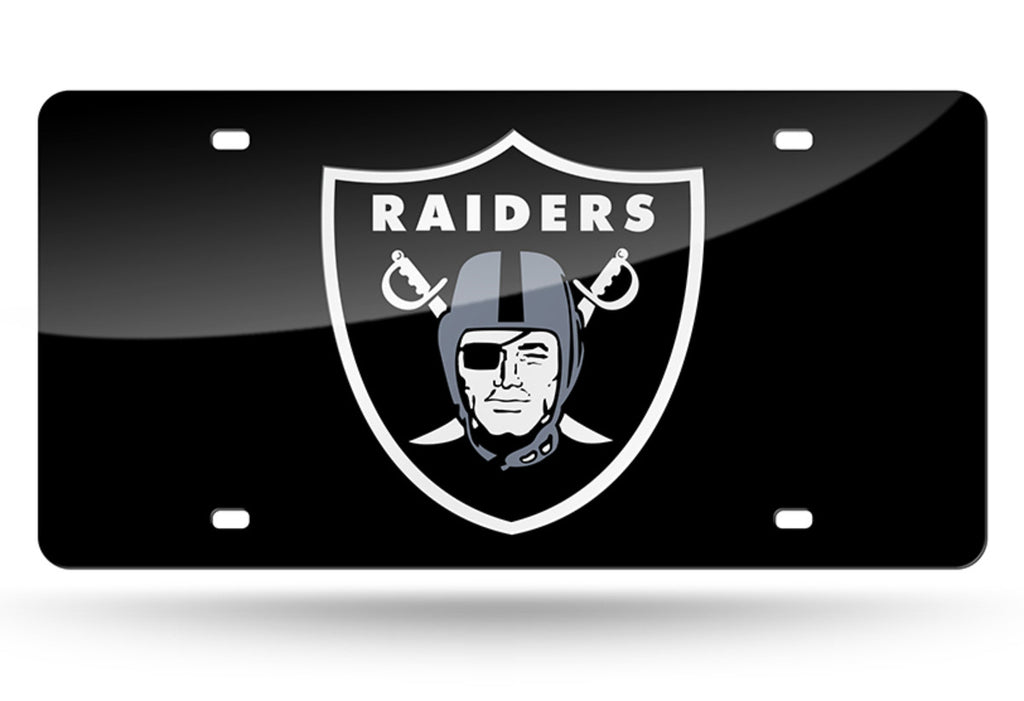 OAKLAND RAIDERS MIRROR CAR TAG LASER LICENSE PLATE BLACK SIGN NFL