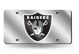 OAKLAND RAIDERS MIRROR CAR TAG LASER LICENSE PLATE SILVER LOGO NFL
