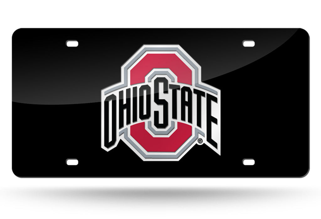 Ohio State Buckeyes Laser Mirror Car Tag Black