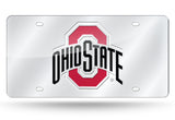 OHIO STATE BUCKEYES SILVER MIRROR CAR TAG LASER LICENSE PLATE AUTO UNIVERSITY