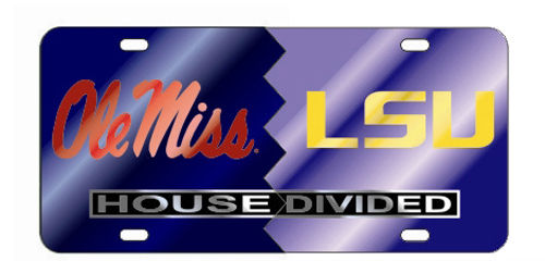 OLE MISS REBELS LSU TIGERS HOUSE DIVIDED MIRROR LICENSE PLATE CAR TAG UNIVERSITY
