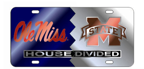 OLE MISS REBELS MISSISSIPPI STATE BULLDOGS HOUSE DIVIDED MIRROR LICENSE PLATE CAR TAG UNIVERSITY
