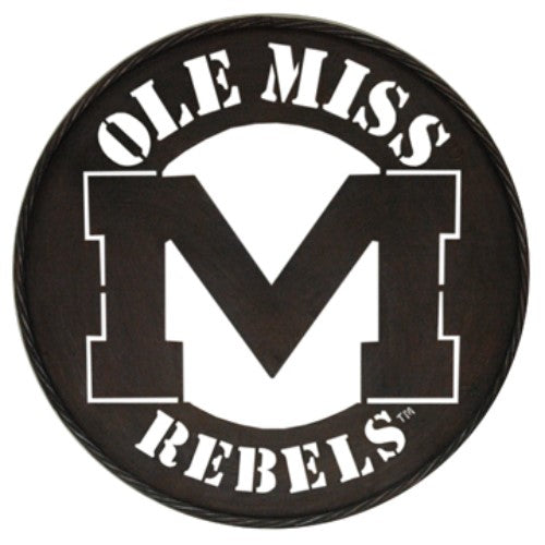"OLE MISS REBELS LARGE 24"" ROUND IRON METAL WALL DECOR SIGN"