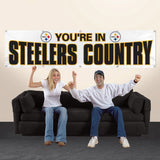PITTSBURGH STEELERS 8' X 2' YOU'RE IN STEELE COUNTRY BANNER 8 FOOT HEAVYWEIGHT WHITE