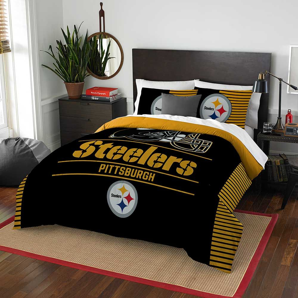 PITTSBURGH STEELERS FULL/QUEEN COMFORTER AND SHAM 3PC SET DRAFT NORTHWEST NFL