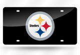 PITTSBURGH STEELERS MIRROR CAR TAG LASER LICENSE PLATE BLACK SIGN LOGO NFL