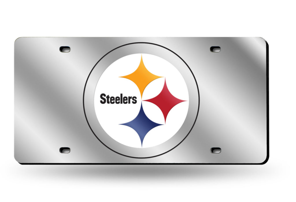 PITTSBURGH STEELERS MIRROR CAR TAG LASER LICENSE PLATE SILVER SIGN NFL