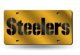 PITTSBURGH STEELERS MIRROR CAR TAG LASER LICENSE PLATE GOLD SIGN NFL