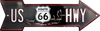 ROUTE 66 US HWY ARROW METAL TIN SIGN MAN CAVE GARAGE DECOR AUTO TRAVEL MAP