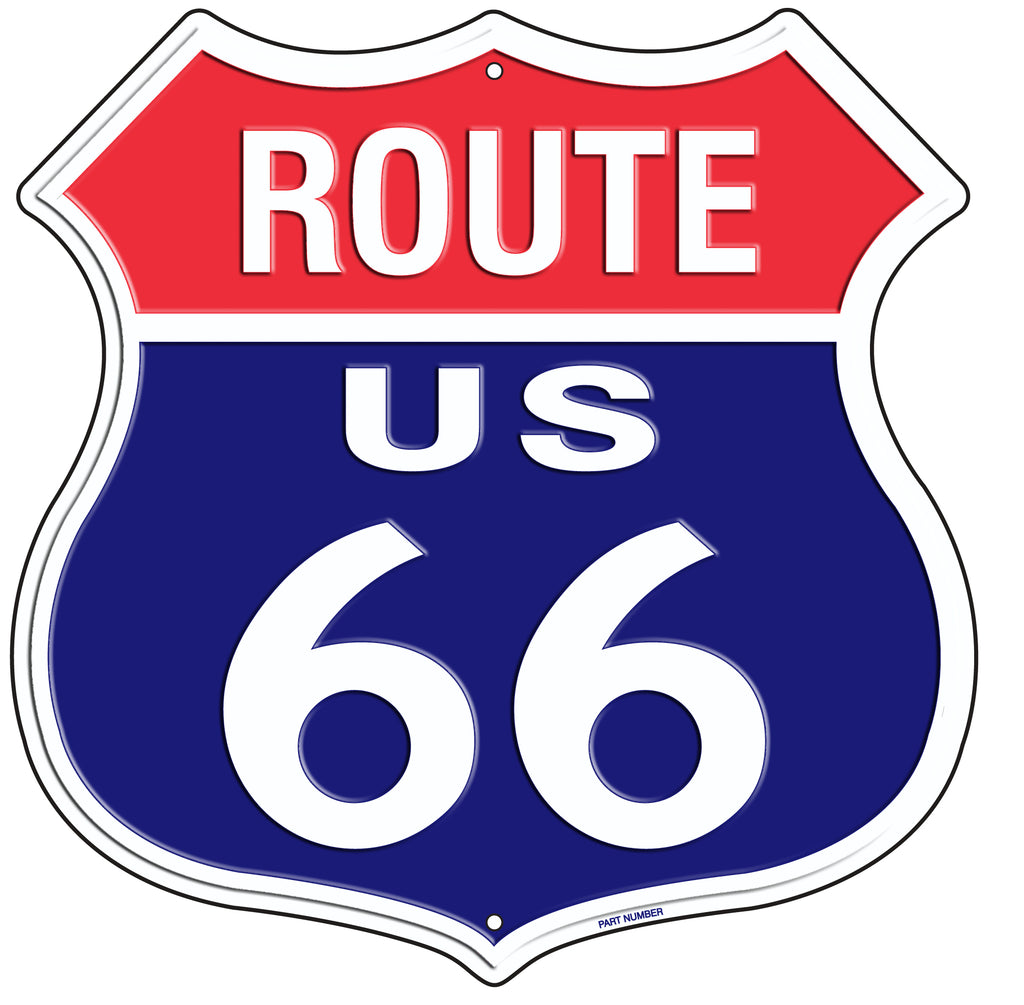 "US ROUTE 66 11 X 11"" SHIELD METAL TIN EMBOSSED USA FLAG COLOR SIGN GARAGE"