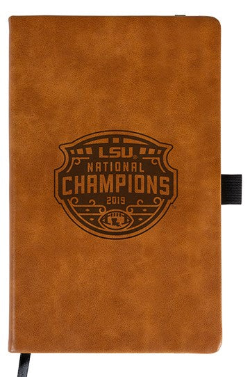 LSU Tigers National Champions 2019 laser engraved brown notepad with elastic band journal