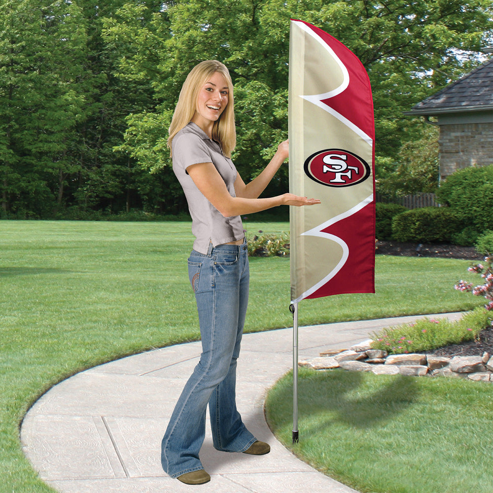 SAN FRANCISCO 49ERS 6 FOOT TALL SWOOPER DOUBLE SIDED TEAM FLAG