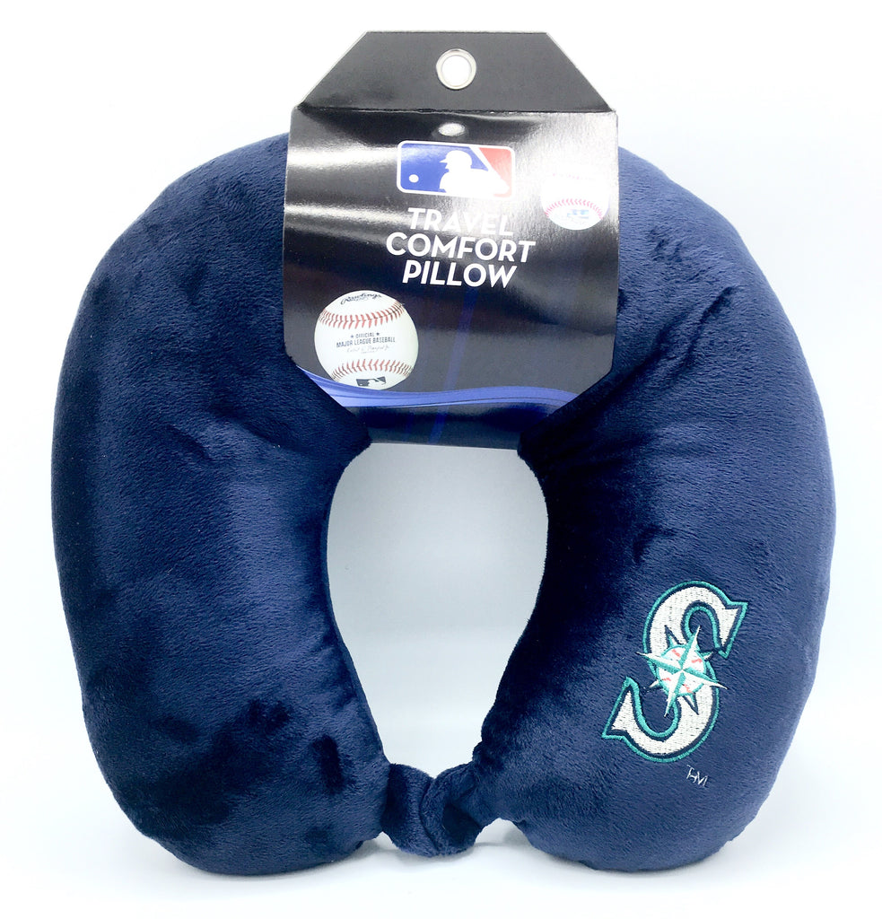 SEATTLE MARINERS APPLIQUE TRAVEL NECK PILLOW TEAM LOGO COLOR SNAP CLOSURE POLYESTER MLB