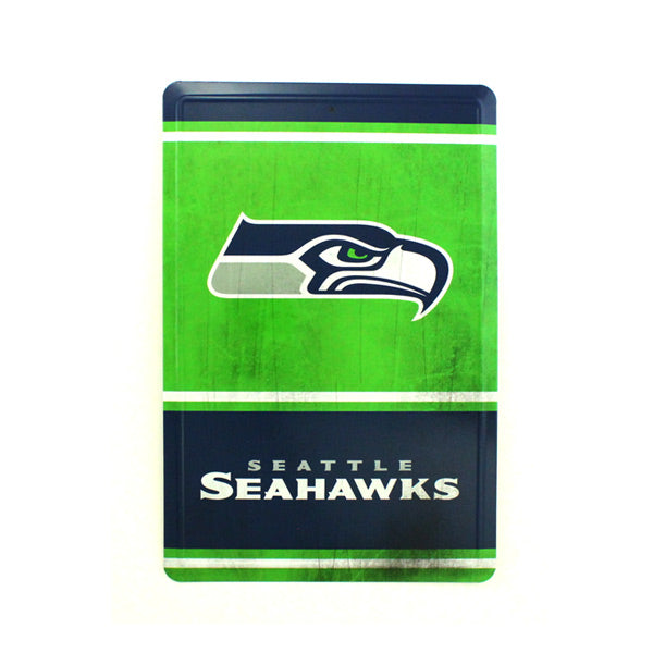 "SEATTLE SEAHAWKS TEAM TIN SIGN VINTAGE WOOD LOOK METAL 8""  X 12"" MAN CAVE FAN"