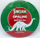 SINCLAIR OPALINE MOTOR OIL TIN METAL ROUND SIGN 12