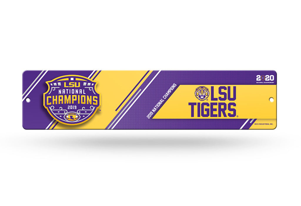 "LSU Tigers National NCAA Champions 2019 Plastic Street Sign 4"" x 16"" 2020"