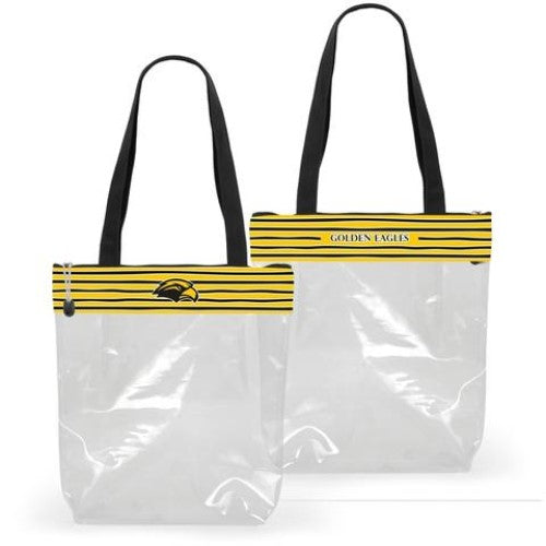 SOUTHERN MISS GOLDEN EAGLES CLEAR ZIPPER STADIUM TOTE APPROVED PURSE BAG NCAA INSIDE POCKET MISSISSIPPI