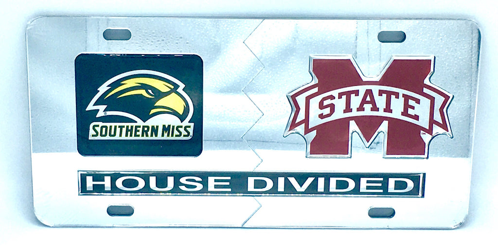 SOUTHERN MISS GOLDEN EAGLES MISSISSIPPI STATE BULLDOGS HOUSE DIVIDED MIRROR LICENSE PLATE CAR TAG UNIVERSITY