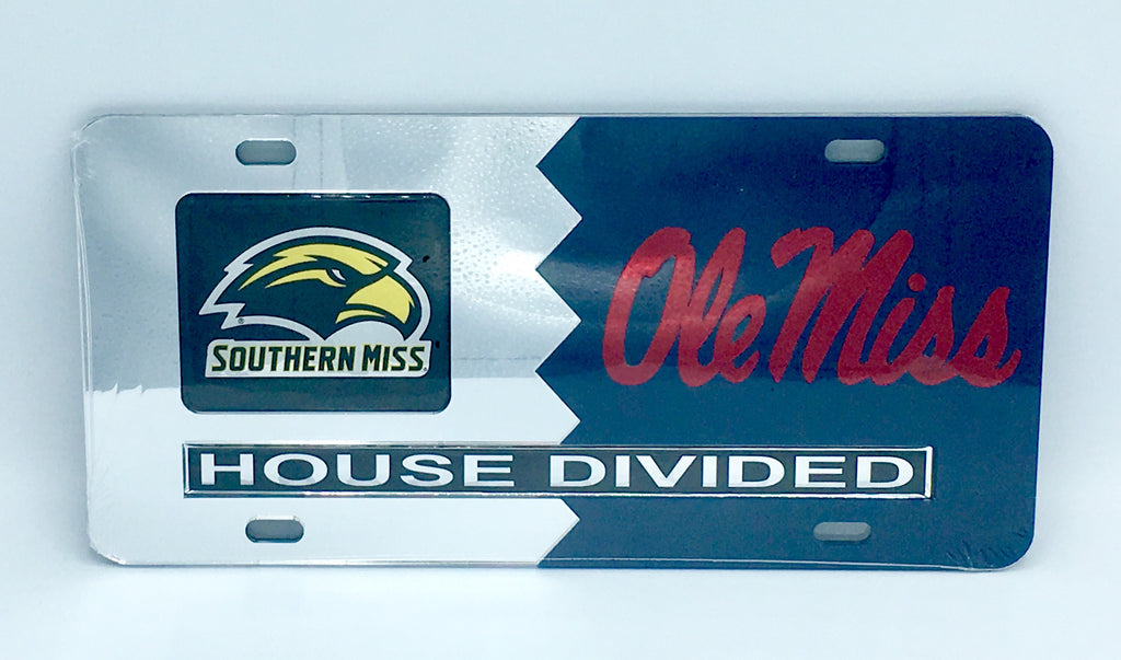 SOUTHERN MISS GOLDEN EAGLES OLE MISS REBELS HOUSE DIVIDED MIRROR LICENSE PLATE CAR TAG UNIVERSITY