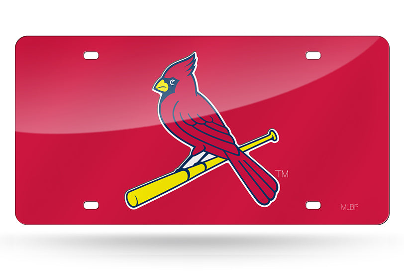 ST. LOUIS CARDINALS LASER CUT MIRROR CAR TAG LICENSE PLATE RED