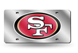 SAN FRANCISCO 49ERS MIRROR CAR TAG LASER LICENSE PLATE SILVER SIGN LOGO NFL SF
