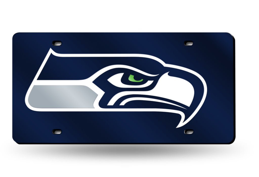 SEATTLE SEAHAWKS MIRROR CAR TAG LASER LICENSE PLATE BLUE SIGN NFL