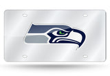 SEATTLE SEAHAWKS MIRROR CAR TAG LASER LICENSE PLATE SILVER SIGN NFL