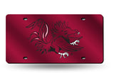 SOUTH CAROLINA GAMECOCKS MIRRORED LASER RED CAR TAG LICENSE PLATE LOGO SIGN