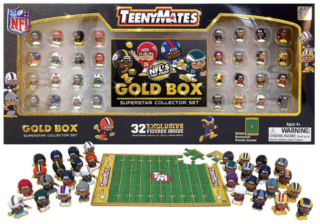TennyMates NFL Gold Box Superstar Collector Set with Bonus Puzzle
