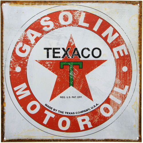 "TEXACO GASOLINE MOTOROIL 12"" X 12"" METAL SIGN GAS GARAGE DISTRESSED VINTAGE LOOK"